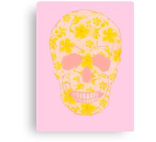 Skull Pale Yellow and Pink Canvas Print