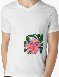 Pink Frangipani Flowers Photograph Mens V-Neck T-Shirt