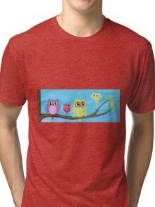 Owl Family on tree II Tri-blend T-Shirt