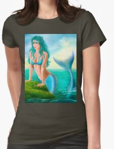 Fantasy beautiful young woman mermaid in sea Womens Fitted T-Shirt