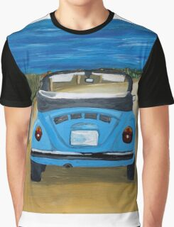 Blue VW bug at beach Graphic T-Shirt