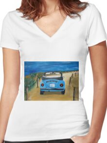 Blue VW bug at beach Women's Fitted V-Neck T-Shirt