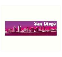 San Diego Skyline Pink Logo Art Print