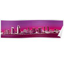 San Diego Skyline Pink  Poster