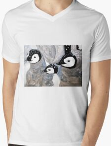 Penguin Babies Mens V-Neck T-Shirt