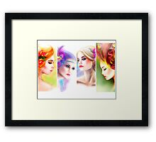 Beautiful Woman fairy face collage Framed Print