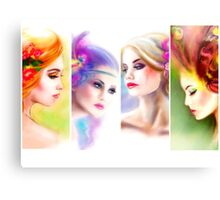 Beautiful Woman fairy face collage Canvas Print