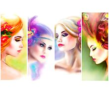 Beautiful Woman fairy face collage Photographic Print