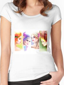 Beautiful Woman fairy face collage Women's Fitted Scoop T-Shirt