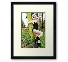 Black Swimsuit and Boots Framed Print