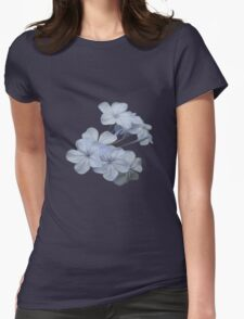 Pale Blue Plumbago Flower With Border Womens Fitted T-Shirt