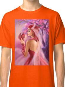 Beautiful fantasy woman queen and red dragon sakura background Classic T-Shirt
