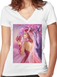 Beautiful fantasy woman queen and red dragon sakura background Women's Fitted V-Neck T-Shirt