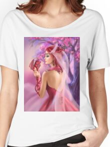 Beautiful fantasy woman queen and red dragon sakura background Women's Relaxed Fit T-Shirt