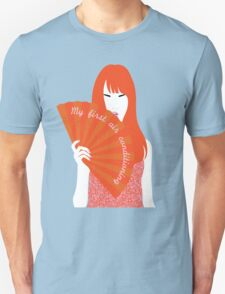 red headed woman with fan Unisex T-Shirt