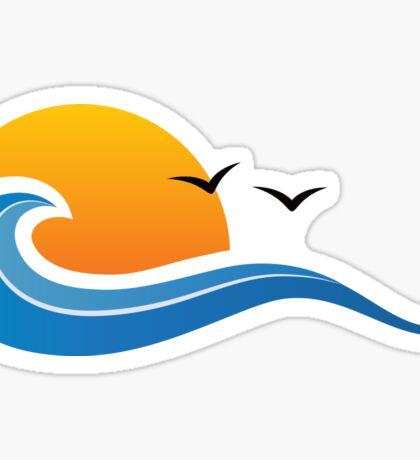Blue wave, sun and birds sticker Sticker