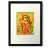 Fantasy Beautiful fairy woman autumn. nature. fashion portrait Framed Print