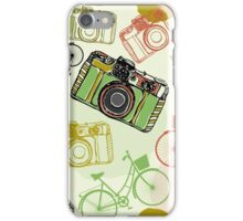 Vintage camera and bicycles iPhone Case/Skin