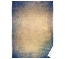 Blue and orange romantic grungy background texture with scratches Poster