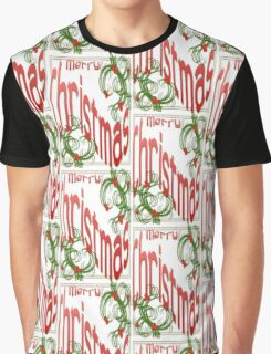 Merry Christmas With Stylized Holly With White Background Graphic T-Shirt