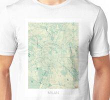 Milan Map Blue Vintage Unisex T-Shirt