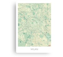 Milan Map Blue Vintage Canvas Print