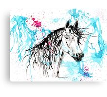 Abstract Ink - Black Arab Horse Canvas Print