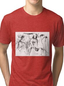 Abstract Ink - Black And White Arabian Horse Tri-blend T-Shirt