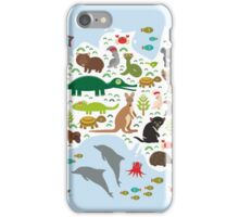 Australian animal map and ocean iPhone Case/Skin