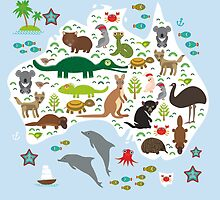 Australian animal map and ocean by EkaterinaP
