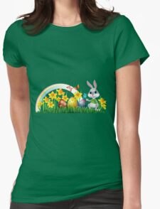 Easter Bunny With Eggs Womens Fitted T-Shirt