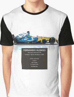 Fernando Alonso - Renault R26 - British Grand Prix - Geek Stats version Graphic T-Shirt