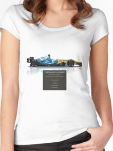 Fernando Alonso - Renault R26 - British Grand Prix - Geek Stats version Women's Fitted Scoop T-Shirt