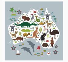 Australian animal map and ocean Kids Tee