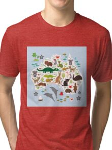 Australian animal map and ocean Tri-blend T-Shirt