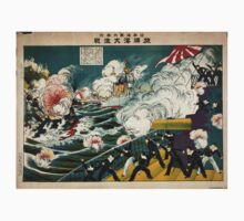Great Battle At Lushun Bay - Sadajiro Ariyama - 1904 - chromolithograph Kids Tee