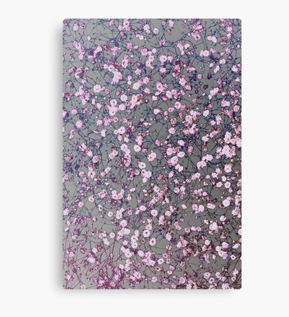 Small pink flowers on silver Canvas Print