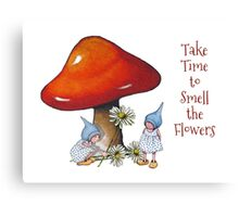 Take Time To Smell the Flowers, Toadstool, Gnomes Canvas Print
