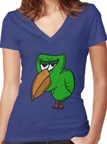 GRUMPY BIRD Women's Fitted V-Neck T-Shirt