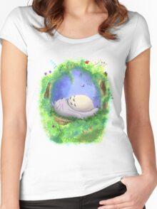 Totoro Sleeping - Studio Ghibli Women's Fitted Scoop T-Shirt