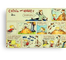 calvin and hobbes comic vintage Canvas Print
