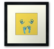 blue baby hands and feet Framed Print