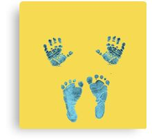 blue baby hands and feet Canvas Print