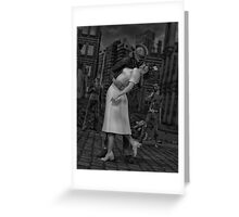 Zombies Kiss BW Greeting Card