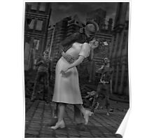 Zombies Kiss BW Poster