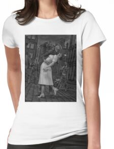Zombies Kiss BW Womens Fitted T-Shirt