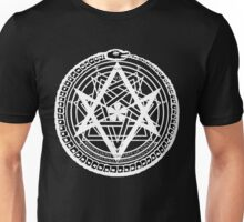Thelemic Babalon Ouroboros with Nietzsche quote and Enochian script Unisex T-Shirt