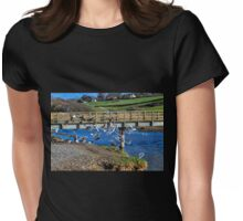 Birds by the bridge, Charmouth Dorset UK Womens Fitted T-Shirt