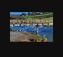 Birds by the bridge, Charmouth Dorset UK Womens T-Shirt
