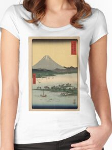 Hiroshige Ando - Pine Beach at Miho in Suraga - 1858 - Woodcut Women's Fitted Scoop T-Shirt